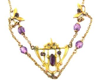 Elegant  Victorian Edwardian Open Back Purple Amethyst Gold Antique Festoon Swag Necklace
