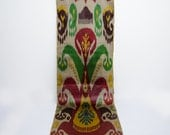 Red yellow green turqouse brown multicolor ikat fabric by the yards, authentic, handwoven, hand dyed fabric