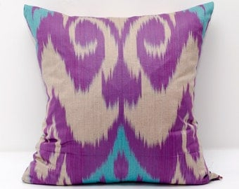 15x15, purple turquoise ikat pillow covers, authentic ikats from manufacturer, margilan ikats, sale ikats,