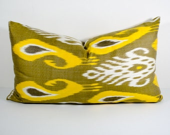 22x14, ikat pillow cover, yellow goldenrod white pillow, cushion, pillowcase, cushion cover, ikat,