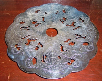 1920s Silverplate Footed Expandable Floral Design Trivet, Ball Feet, E. G. Webster and Son, Vintage, Made Before 1928