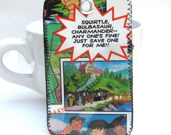 Recycled Comic Metro or Bus Pass Holder / Bag Tag