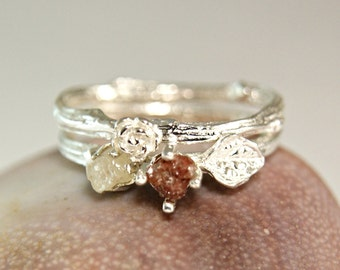 Red Diamond Twig Rings, Engagement Set, Woodland Wedding Rings, Sterling Silver Diamond Set