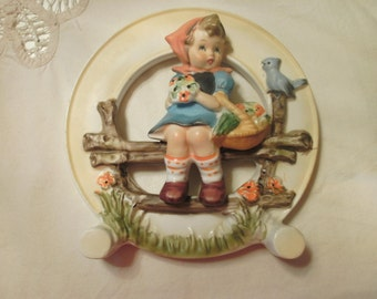 Wales Made In Japan Wall Decor Little girl On Bench With Her Flowers And A Blue Bird Happily Watching Over Her