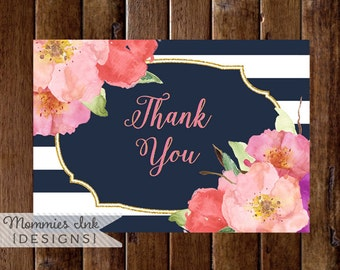 Watercolor Floral Folded Thank You Note, Watercolor Card, Folded Note, Navy and White Stripes Thank You Note, Navy and Pink Thank You