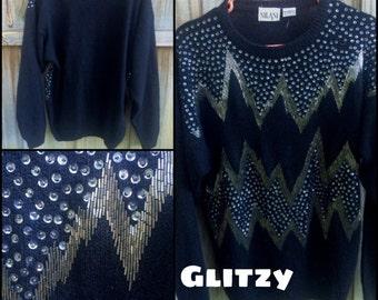 Sequined Angora Sweater (M)