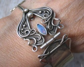 RESERVED for Wendy- Antiquities Bracelet with Multi-Color Opal in Sterling Silver OOAK
