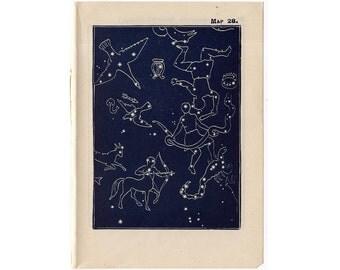 1948 VEGA QUARTER summer CONSTELLATION stars lithograph - mini constellation map - original vintage print - celestial astronomy - no 28