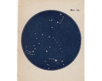 1910 mini constellation figures original antique celestial astronomy print -  map 19