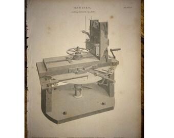 1810 ANTIQUE ENGINE ENGRAVING original antique machine print - cutting engine by Rehi