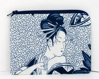 Japanese Geisha Woman, Small Zipper Pouch, Indigo Blue Coin Purse