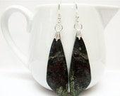 SALE Dragons Blood Jasper and Sterling Silver Earrings - Green Gemstone Earrings - Womens Jewelry - Multi Color Earrings - Long Earrings