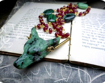 Wolf In Sheep's Clothing XX | Carved Ruby in Zoisite Wolf Head 24K Gold Genuine Rubies, Ruby Zoisite Beaded Rosary Boho Occult Necklace OoaK