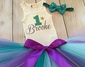 Mermaid Wishes Tutu Dress Outfit, Baby Girls Tutu Dresses, 1st Birthday Dress for Babies