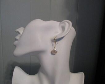 Coin Pearl Earrings, Coin Fresh Water Pearl Earrings, White Natural Pearl Earrings, Handmade