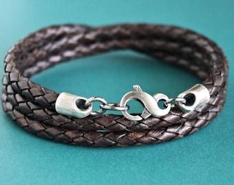 Mens Triple Wrap Bracelet, Brown Leather Braid, Silver Infinity Clasp