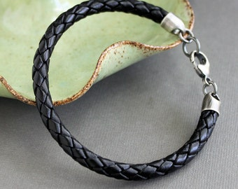 Mens Black Leather Bracelet,  Braided Leather Cord Bracelet, Sterling Silver Clasp