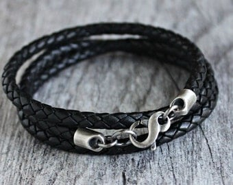 Mens Wrap Bracelet Leather Braided Black Cord Silver Infinity Clasp