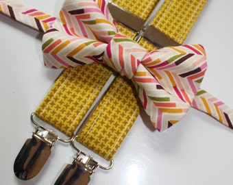 Little and Big Guy Bow tie and Suspender SET -Fall Herringbone and Mustard Yellow - (Newborn-Adult) - Baby Boy Toddler Teen Man - Fall