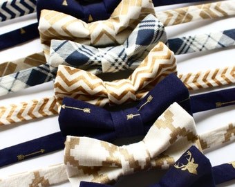 Little and Big Guy BOW TIE - Navy and Gold Holiday Collection - (Newborn-Adult) - Baby Boy Toddler Teen Man