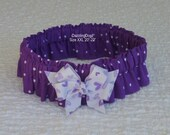 "Purple Polka Dotted Dog Scrunchie Collar with heart bow - Size XXL:  20"" to 22"" neck"