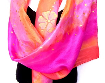 Handpainted Silk Scarf, Pink Orange Gold, Floral, Hand Painted Silk Scarf, Gift Under 50