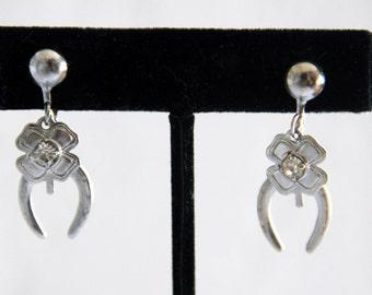 Vintage Lucky Horseshoe Four Leaf Clover Earrings