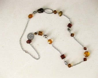 Long Brown Beaded Necklaces, Brown Beaded Necklaces, Beaded Necklaces, Long Beaded Necklaces, Chunky Brown Beaded Necklaces, Necklaces, N836