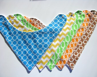 5 Baby Bandana Drool Bibs  Colorful Prints   509  abcde