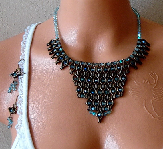 Wedding jewelry set bib necklace and earrings Coffee Tribal Bib Necklace Statement necklace