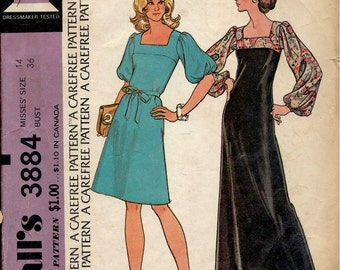 1970's McCall's Sewing Pattern No. 3884 - Boho Maxi Dress with Square Neckline Yoke , Long Full Sleeves  Bust 36
