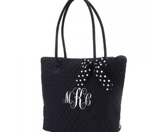 Black & White Quilted Medium Tote Monogrammable Personalized