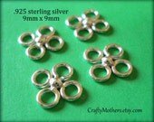 29% SALE! (Code: FROSTY) FOUR Bali Sterling Silver Clover Links, 9mm, Artisan-made jewelry supply, precious metal, necklace, earrings