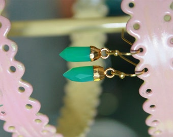 Tiny Chrysoprase Spike Earrings on 14k gold wire
