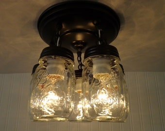 Mason Jar LIGHT FIXTURE New PINT 5-Light