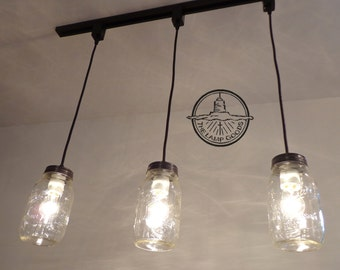 Mason Jar TRACK LIGHTING Pendant New Quart - Chandelier Farmhouse Light Ceiling Flush Mount Kitchen Bathroom Lamp Ball Hanging by LampGoods