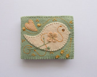 Needle Book Light Green Felt Needle Keeper with Pink Folk Art Bird Hand Embroidered Handsewn