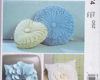 McCall's Pattern M7174 Home Dec Pillows - Retro Smocked Round & Heart Shaped or Square Pillows with Raised Contrast Flower