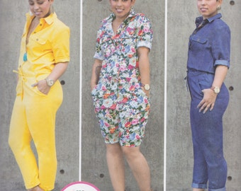 Simplicity Pattern 8060 Mimi G Style Jumpsuits in Two Lengths with Button Front, Casing Waist, Collar & Pockets Misses' Sizes 16 - 24