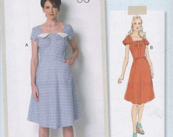 Butterick Pattern B6321 Lissette Sew Your Style  Dress with Square Neckline, A-Line Skirt, Side Front Pockets Misses' Sizes 6 - 14