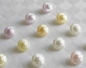 24 marvellous small glass buttons  diff. pastel colors -  (13.5 mm - 9/16 in.)