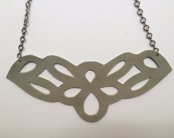 Cutout leather chain necklace