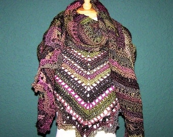 Hand Crochet Multi-Colored Triangle Shawl, Gift For Her