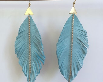 Turquoise LEATHER feather earrings leather earrings feather earrings leather feather earrings with gold chain