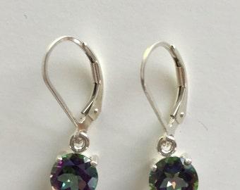 Rainbow Mystic Topaz 7mm 3.30ctw Sterling Silver Dangle Earrings
