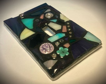 Purple/Cream/Aqua Mix - STAINED GLASS MOSAIC Light Switch Cover - Made to order