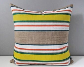 Retro Striped Outdoor Pillow Cover, Citron Yellow & Green, Decorative Throw Pillow Cover, Modern Sunbrella Pillow Cushion Cover, Mustard