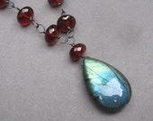 Labradorite Pendant Necklace with Wire Wrapped Garnet Gemstones Oxidized Sterling Silver