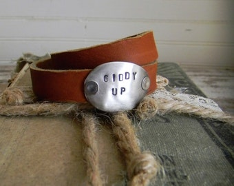 "Leather Wrap Bracelet, Cowgirl Chic Leather Wrap Cuff With Stamped Spoon ""Giddy Up"" Stamped Spoon Bracelet, Re Purposed Leather Jewelry Cuff"