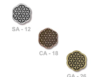 TierraCast Flower of Life Button - pewter with antiqued finish - choose from silver, copper or gold - shank jewelry or craft button